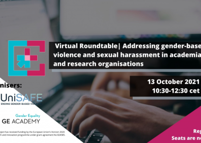 GE Academy + UniSAFE roundtable on addressing gender-based violence and sexual harassment in academia and research organisations
